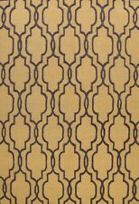 Gold/ Charcoal Modern Trellis Oriental Area Rug Hand-Tufted Wool Carpet 8x10 ft