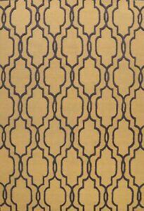 Gold/ Charcoal Modern Trellis Oriental Area Rug Hand-Tufted Wool Carpet 8x10 ft