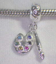 "UNBRANDED 925 SILVER ""ARTIST PALETTE & PAINT BRUSH"" CZ'S  EUROPEAN DANGLE CHARM"
