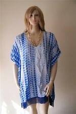 WOMENS BLUE TIE DYE KAFTAN COVER UP TOP TUNIC SUITS ONE SIZE 14-18 FREE POSTAGE