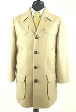 PENDLETON Coat Camel Tan Virgin Wool Thigh Length Size 40 Leather Buttons