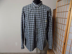RALPH LAUREN 3XLT Long Sleeve Button Front Shirt Green Plaid Yellow Pony Cotton