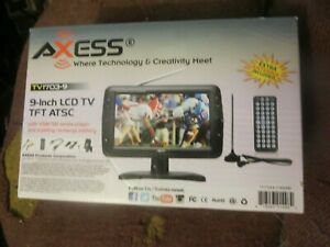 Axess 9-Inch LCD TV w/ ATSC Tuner, Rechargeable Battery USB/SD Inputs in box