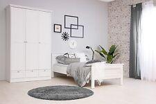 """Einzelbett Schlafzimmerbett """"NATURA"""" Bett 90 x 200 cm Weiß Landhausstil"""