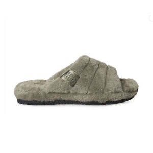UGG FLUFF YOU BURNT OLIVE WOOL CASUAL COMFORT MEN'S SLIPPERS SIZE US 12 NEW