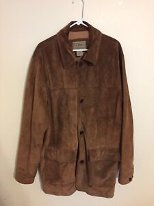 LL Bean Brown Suede Leather Field Jacket Over Coat Mens Size XL Tall OBLM5