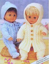 "BABY DOLLS CLOTHES 12-20"" KNITTING PATTERN DK COAT JACKET TROUSERS HAT SOCKS"