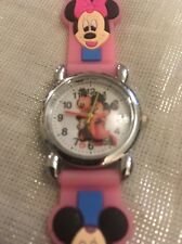 Kids Girls Boys Pink Mickey Mouse Wrist Watch Silicone Strap Steel Back Sfn