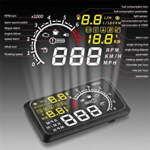 """Auto Car LCD 5.5"""" HUD Head Up Display OBD2 OBDII Speedometers Over Speed Warning"""