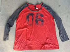 ED-IT-ED BASEBALL STYLE LONG SLEEVE JERSEY TOP RED GREY NEW WOMENS PLUS SIZE 20