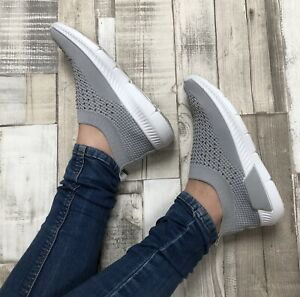 Grey sock trainers Size 3 Slip On Diamanté Comfy Sparkle Casual