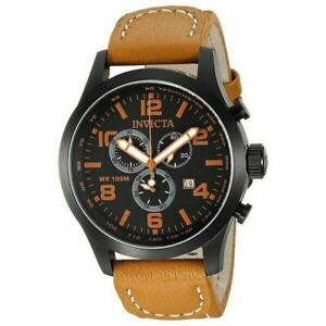 Invicta Men's Watch Stainless Steel Leather Band Chronograph 18498 Brown Black