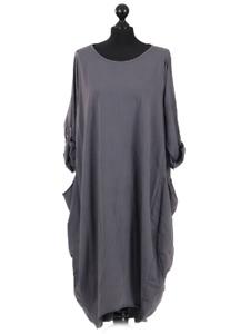 New Womens Soft Cotton Italian Parachute Ladies Lagenlook Pocket Maxi Dress