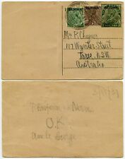 BURMA to AUSTRALIA SURCHARGES on UPRATED STATIONERY CARD TOUNGOO 1937