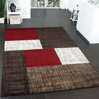 Red Brown and White Rug Living Room Checked Pattern Modern Carpet Small X Large