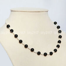Natural cultured fresh water pearl 3-4mm white & 8mm Agate Jade necklace 16-18''
