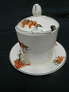 """1930's Vintage Hand Painted ** PRESERVE POT ** & Stand (4.5"""" High)"""