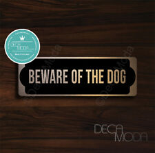 Beware of the Dog Sign, Brushed Copper Finish Beware of Dog Sign, 9 x 3 inches