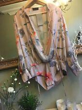 ZARA Silky Floral Print Shirt Bodysuit Plunge V Neck Medium BNWT
