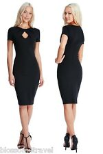 Goddiva Black Pleated Front Keyhole Fitted Pencil Cocktail Evening Party Dress