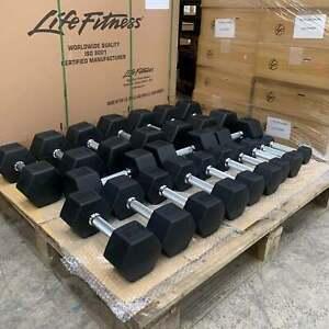 American Barbell Hex Rubber Dumbbells 2.5 - 25kg Set