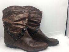 lavorazioni womens boots cowboy brown vintage size 38 5 leather flat ankle