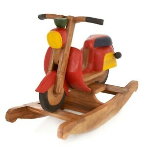 Rocking Vespa Scooter Rustic Child's Kids Children Painted Solid Wooden