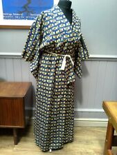 Vintage blue and yellow Japanese kimono night gown nightdress silk mix