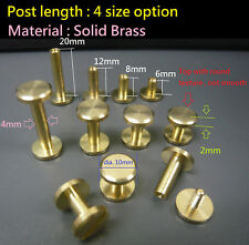 Brass Flat Head Chicago Screw/Stud/Rivet Belt Strap Fastener Screwback DIY Craft