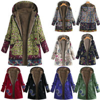Women Winter Warm Fleece Lined Hooded Jacket Parka Floral Coat Outwear Jacket