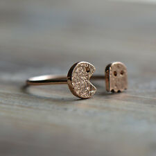 Rose Gold Plated - Size Adjustable Arcade Pixels Gold Knuckle Ring 18K
