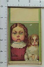 Fabulous Girl & Dog Look-A-Like Big-Eyes Victorian Trade Card Stunning *A