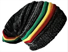 Rasta Beanie Hat Long Slouch Ribbed Black & White with Multi colour Marley Style