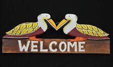 Holzschild Welcome 50cm Pelikane Schild Tiki Schild Florida Style