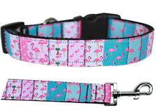 Mirage Flamingo Fun Nylon Dog Collars and Leash Combo