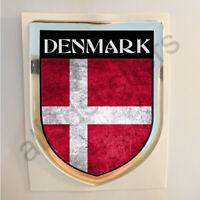 Pegatina Dinamarca 3D Bandera Grunge Escudo Adhesivo Resina Relieve Pegatinas