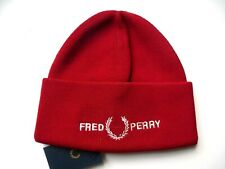 Genuine FRED PERRY Siren Red Deep Cuff Logo BEANIE HAT Toque UNISEX New Tags
