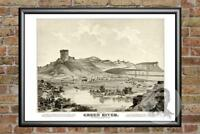 Old Map of Green River, WY from 1875 - Vintage Wyoming Art, Historic Decor
