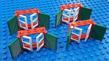 LEGO 4X COMBO Red 1X4X3 WINDOW (3853), Green SHUTTERS (3856), White PANES (3854)