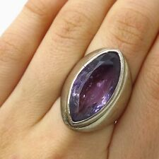 Vtg 925 Sterling Silver Real Large Amethyst Gemstone Wide Heavy Ring Size 6