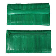 Genuine Eel Skin Leather Woman Long Wallet Trifold Purse