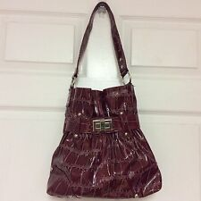 shateau bucket shoulder strap hobo handbag red embossed   H16