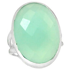 Aqua Chalcedony 925 Sterling Silver Ring Jewelry S.6.5 ACFR33