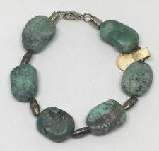 "Bracelet Old Store Stock Tag Usa Vintage 7-1/2"" Genuine Turquoise Natural Stone"
