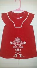 Hanna Andersson Dress Red Corduroy Embroidered Sz 80 10-24 M Birds