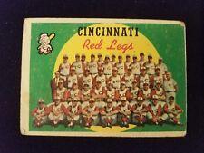 1959 Topps Baseball Card # 111 Cincinnati Rote Beine Team Checkliste