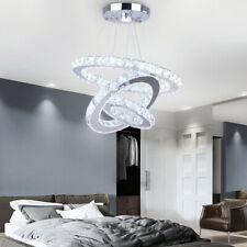 LED Chandelier Modern Ceiling Lamp 3 Rings Crystal Pendant Light Fixture
