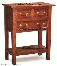 Hall Table, W65xD35xH83, Mahogany Brown, Timber Table, 3 Drawers and Shelf
