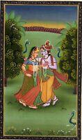 Handmade Indian God and Goddess Radha Krishna Painting Hindu Folk Religion