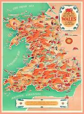 Come to Wales Map Vintage Great Britain Travel Advertisement Art Poster Print